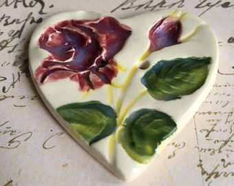 Handmade Ceramic Button With A Rose Design And Heart Shape