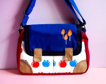 Ladies Women Small Messenger Crossbody Sling Bag Vegan Fabric Cross Body Purse Pockets Travelling Trees Vintage Red Blue Apples Fabric Print