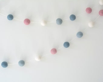 Baby Pink White & Blue Felt Ball Garland, Modern Girl Nursery, Baby Shower Gift, Pink Blue Party Decor, Eco-friendly Wedding, Girl Birthday