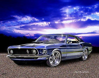Auto Art, 1969 Ford Mustang Mach 1, Hot rod Art, Classic Car, Sports Car, Car Art, AA77