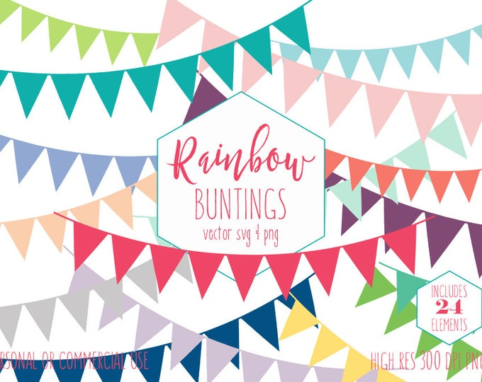 RAINBOW BUNTING BANNER Clipart for Commercial Use Planner Sticker Clip Art Pennant Birthday Party Flag Banners Digital Vector Graphics Svg