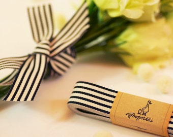 "Black and Ivory Ribbon 3/4"" (RB0003-01-034) 