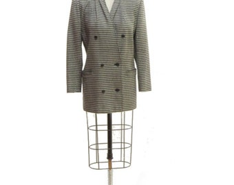 90s Houndstooth, Max Mara Blazer with Double Breasted Buttons! 100% Virgin Wool, Super Soft!