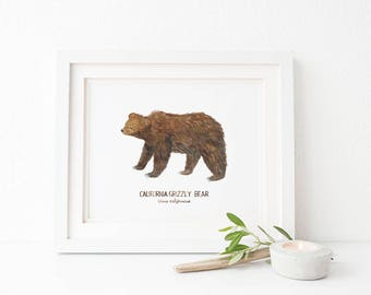 Ours grizzly Art Decor histoire impression / aquarelle / naturel / symboles d'état de Californie / California Art / cadeaux pour lui / Grizzly Bear Art