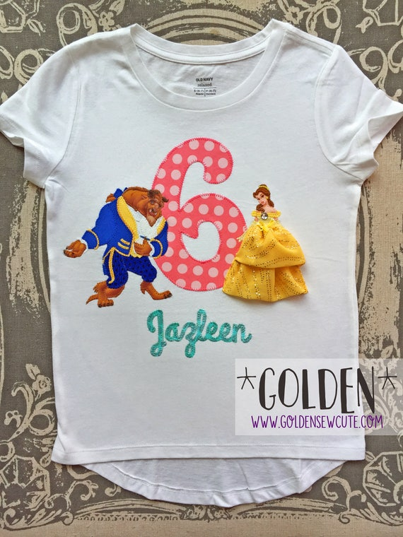 Beauty and the Beast, Princess Belle, inspired Birthday Number tee