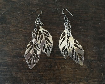 Sterling Silver Leaf Earrings / Sterling / .925 / Marked / Wedding / Prom / Leaves
