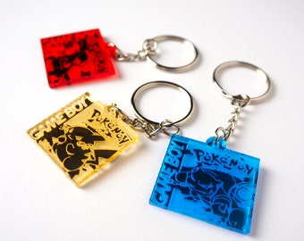 Pokemon Gameboy Game Mirrored Acrylic Keychain | Laser Cut Jewelry | Pokemon Accessories | Pokemon Keychain