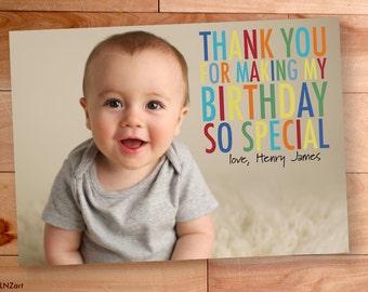 Thank You Photo Cards, Kids Birthday, Boy thank you, Custom Photo Thank You Card, Birthday Thank You, Rainbow, Big Block Letters