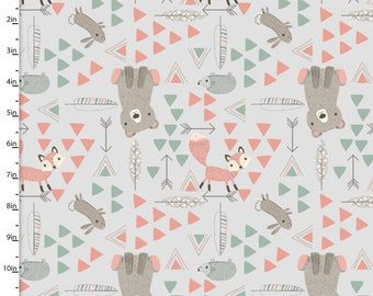 Animal Fabric , Light Gray, Grey, Arrow, Feather, Bear, Fox, Little Ones, 3 Wishes Fabric, Woodland, Forest, Nature, 100% Quilting Cotton