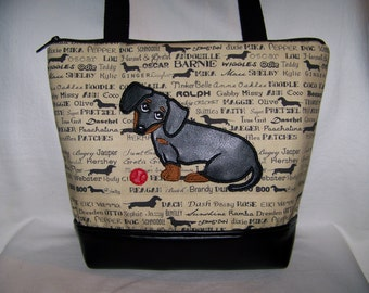 Smooth Black and Tan Dachshund - Wiener Dog - Handbag - Purse - Made to Order