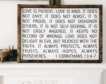"1 Corinthians 13:4-7 | wood sign | approx 24.5"" x 17"""