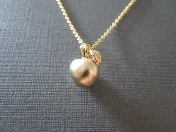 Gold apple necklace aloadofball Gallery