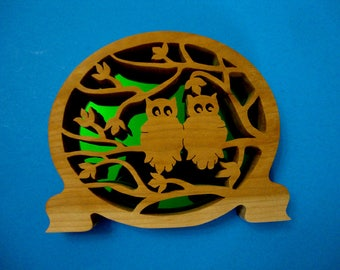 Owl Buddies Handmade Wooden Shelf Decor with Mirrored Back