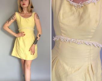 Xs 1960s emma domb yellow fringe mini dress