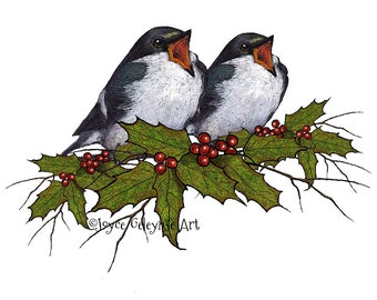 Christmas Clip Art, Printable, Singing Birds, Hand Drawn, Holiday Clipart, Holly with Berries and Thin Twigs,  Instant Download