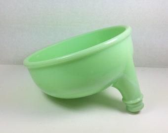 JADEITE JUICER ATTACHMENT, Sunbeam Mixer, 1930's, Green Glass, Des Pat 87228, No. 10, Vintage Housewares, Kitchen Decor