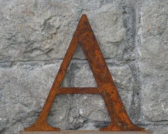 Flat Metal Rusty Letter A / Metal / Letter / Garden / Industrial / Vintage / Rustic / Floral / Gift / Wedding / Home / 25cm
