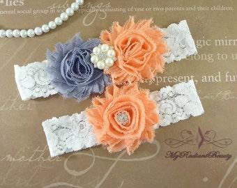 Wedding Garter, Garters, Bridal Garter, Chiffon Rosette Gray Peach Garter, Garter set, Garter belt, Lace Garter, Custom Garter GTF0028PE