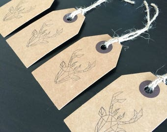Set of 4 Geometric Stag Gift Tags
