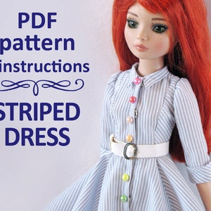 PDF pattern Striped Dress for 16 inch doll Minifee Ellowyne Wilde