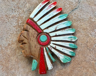 Vintage Carved Wood Native American Chief Brooch Headdress Figural Pin