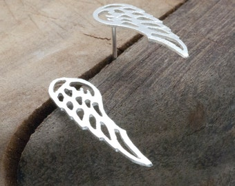 Silver Angel Wings Earrings, Guardian Angel Wings Studs, Unique Silver Wings, Angel Wing Jewelry, Minimalist Dainty Wedding Earrings
