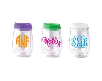 Personalized Bev2go stemless wine tumbler/monogrammed cup