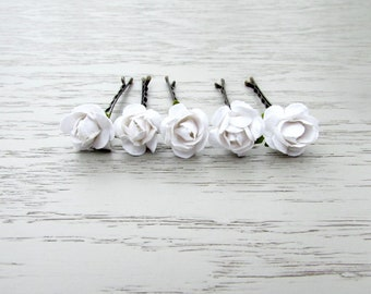 White Rose Bobby Pins, Bridal Hair Pins, Wedding Hair Flowers, Flower Hair Pins, Paper Flower Bridal Hair Clips, Crepe Paper Rose Hair Pins