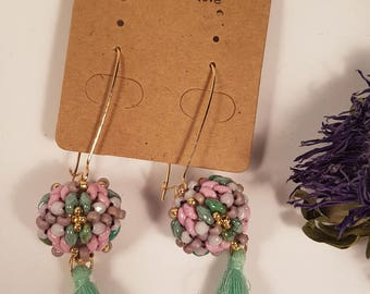 Candy round dangle earrings, mint green, pink, drop, gift for her, gift for women,round earring, beaded earrings, dangle drop boho earrings