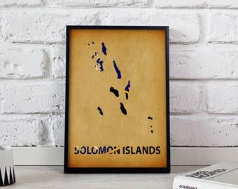 Solomon Islands poster Solomon Islands art Solomon Islands Map poster Solomon Islands print wall art Solomon Islands wall decor Gift poster