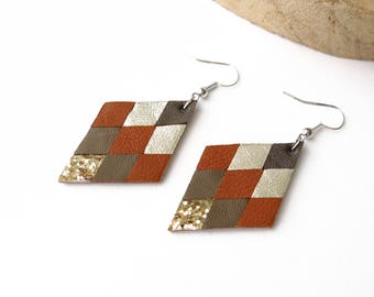 Earrings, Geometric, Leather, Diamond, Camel, Taupe, Gold