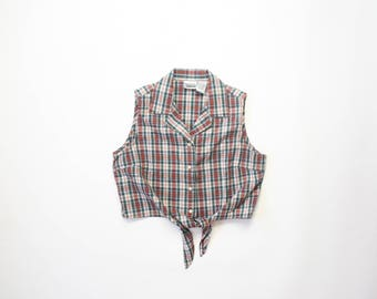 1990s Crop Top Tie Waist 90s Plaid Midriff Shirt Cropped Cotton Soft Grunge Pastel Goth Pinup Half Shirt Button Down Blouse Extra Large