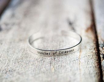 Mother of Dragons, game of thrones, dragon bracelet, dragon, dragon jewelry, mom gift, gift for mom, mothers day gift, targaryen bracelet