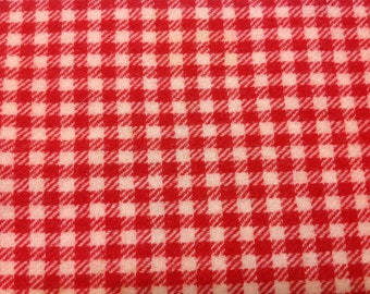 "Vintage red and white check wool 18"" x 20"" for repurposing"