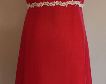 1970s  Vintage Chinese Red Voile Dress with Heavy Lace Trim