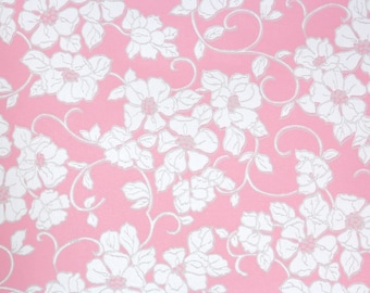 1960s Vintage Wallpaper by the Yard - White Flowers on Pink Retro Wallpaper
