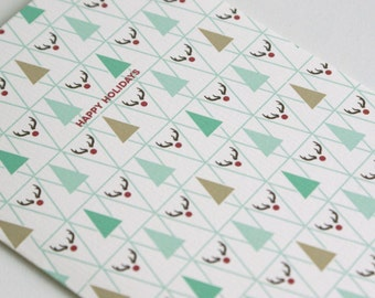 Christmas Card Triangle / Plaid / Rudolf / A6 / Medium print