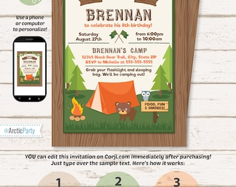 Camping invitation etsy camping party invitations camping invitations camping birthday invitations campfire invitations camp party invitation edit now filmwisefo