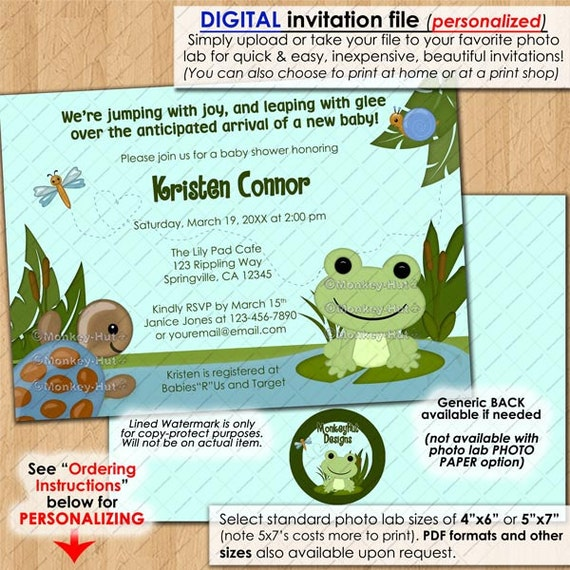 Frog Baby Shower Invitations Hippity Frog Theme Blue Green