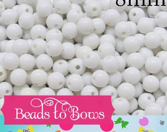 8mm Bubblegum Beads, Chunky Gumball Beads, Round Acrylic Beads, White Bubblegum Beads, Chunky Necklace Supply Bead, Chunky Bead Supply