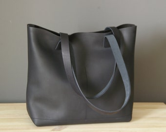 READY TO SHIP. Large Black Distressed Leather bag. Premium waxed leather. Handmade
