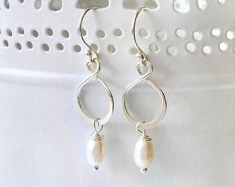 Sterling Silver Infinity Pearl Earrings