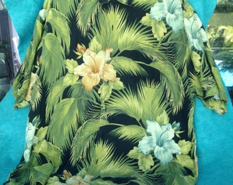 Recent Vintage Tommy Bahama Hawaiian Shirt Hibiscus Flowers and Palm Fronds 100% Silk XL