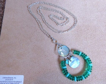 Blue Glass & Shell Necklace