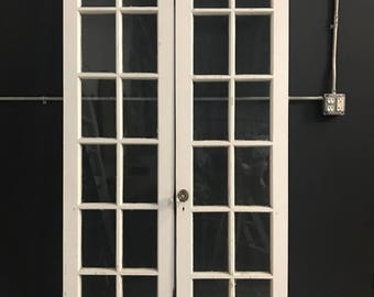 Architectural Salvage Hardwood French Doors 1910s All Original Glass and Paint