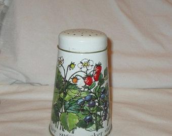 Vintage Regency Ware Sugar or Powdered Sugar Shaker Tin W/Strawberry Designs made England