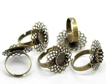 Bronze adjustable flower ring (pr cameo 10mm Dia.)