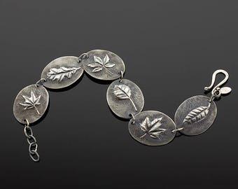 Handmade Sterling Silver Falling Leaves Bracelet