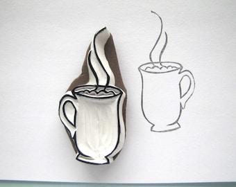 Steaming mug cup cocoa coffee tea cider stamp