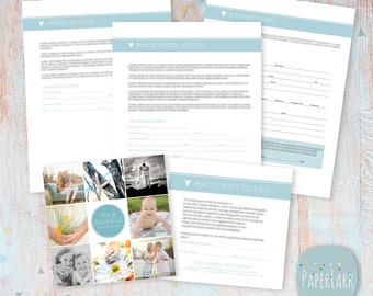 Photography Forms Templates - Model and Minor Model Release, Print Release,  Booking Form - NG006 - INSTANT DOWNLOAD
